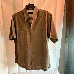 Tasso Elba Mens Sz L Brown Button Up Shirt Top   2